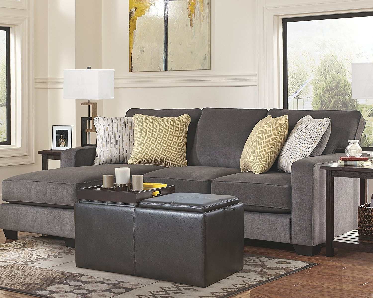 Hodan Sofas With Chaise With Trendy Amazon: Ashley Hodan 7970018 93 Inch Sofa Chaise With Pillows (View 8 of 15)