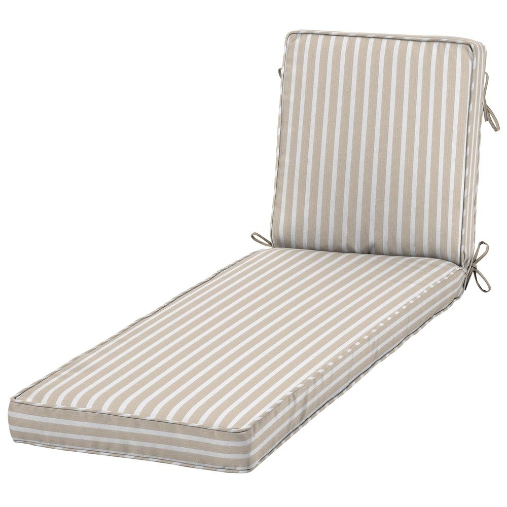 Home Decorators Collection Sunbrella Shore Linen Outdoor Chaise Pertaining To Latest Outdoor Chaise Cushions (View 7 of 15)