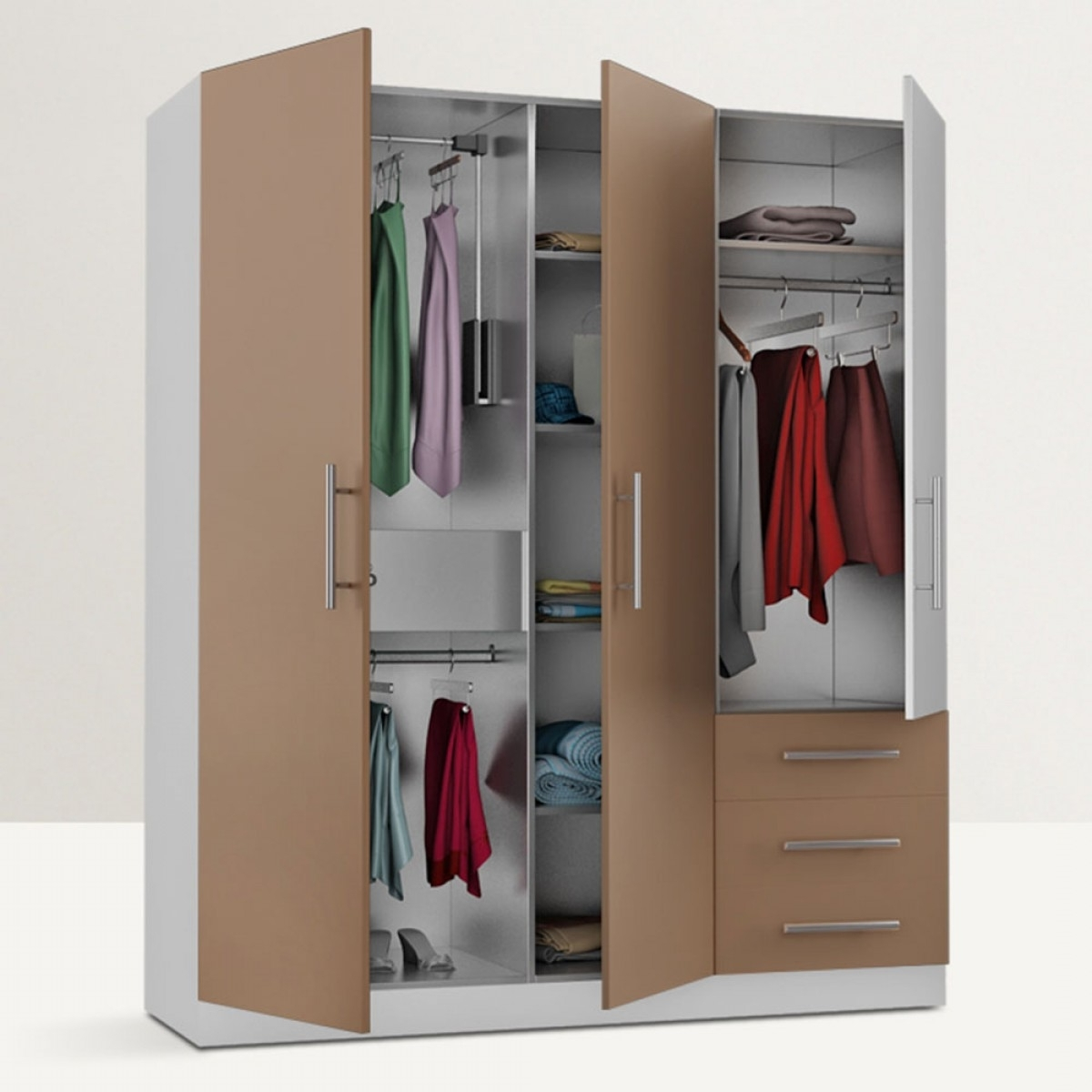 Homeplus Freestanding Triple Door Wardrobe Regarding Latest Triple Door Wardrobes (View 5 of 15)