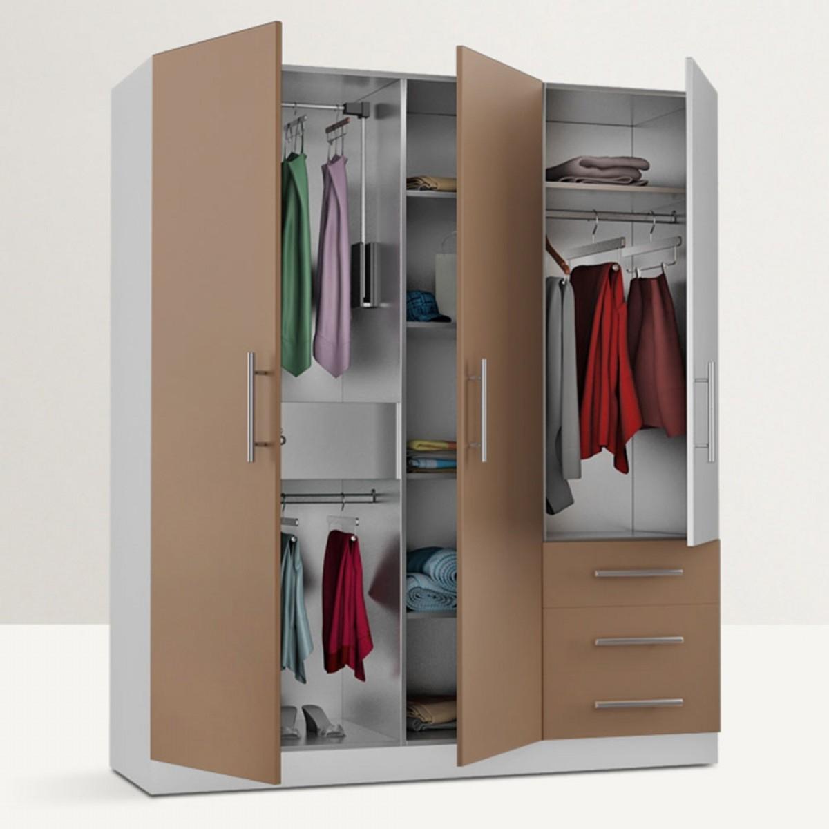 Homeplus Freestanding Triple Door Wardrobe Regarding Latest Triple Door Wardrobes (View 4 of 15)
