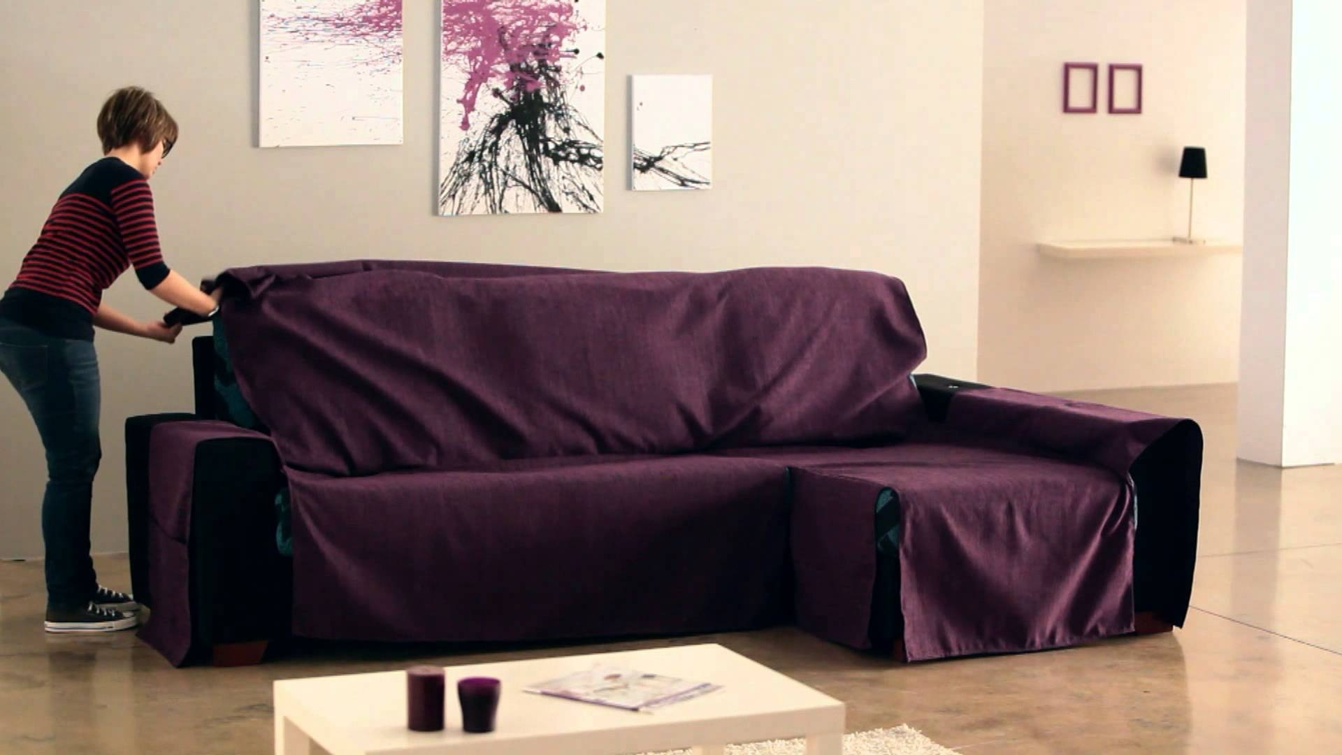 How To Put An Universal Chaise Sofa Covers – Youtube Throughout Famous Chaise Covers (View 3 of 15)
