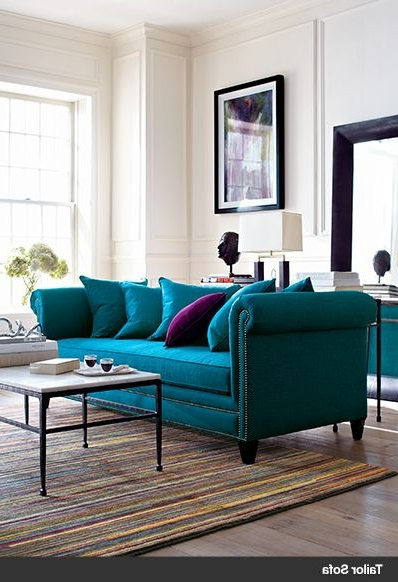 I'd Love To Have Teal Sofas In My Living Room With Burgundy In Fashionable Turquoise Sofas (View 2 of 10)