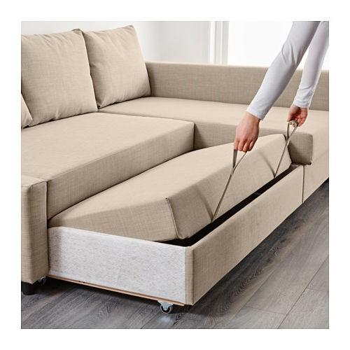 Ikea Corner Sofas With Storage Regarding Newest Friheten Corner Sofa Bed With Storage Skiftebo Beige – Ikea (View 3 of 10)