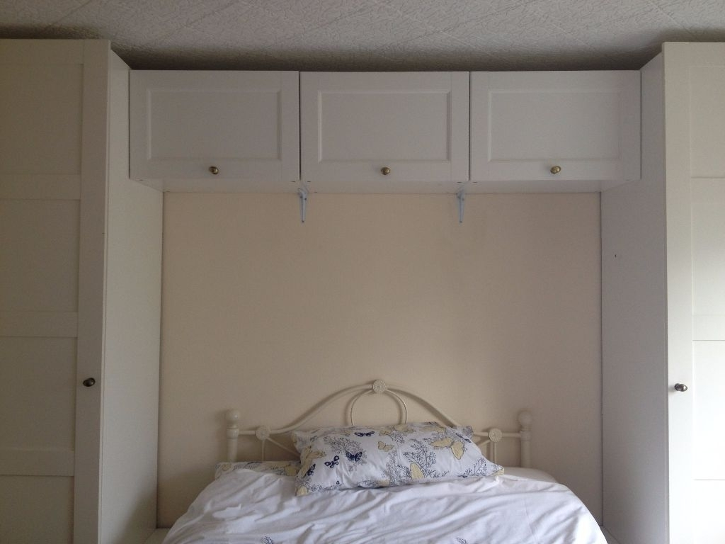 Ikea White Pax Over Bed Wardrobe And Cupboard Storage (Gallery 7 of 15)