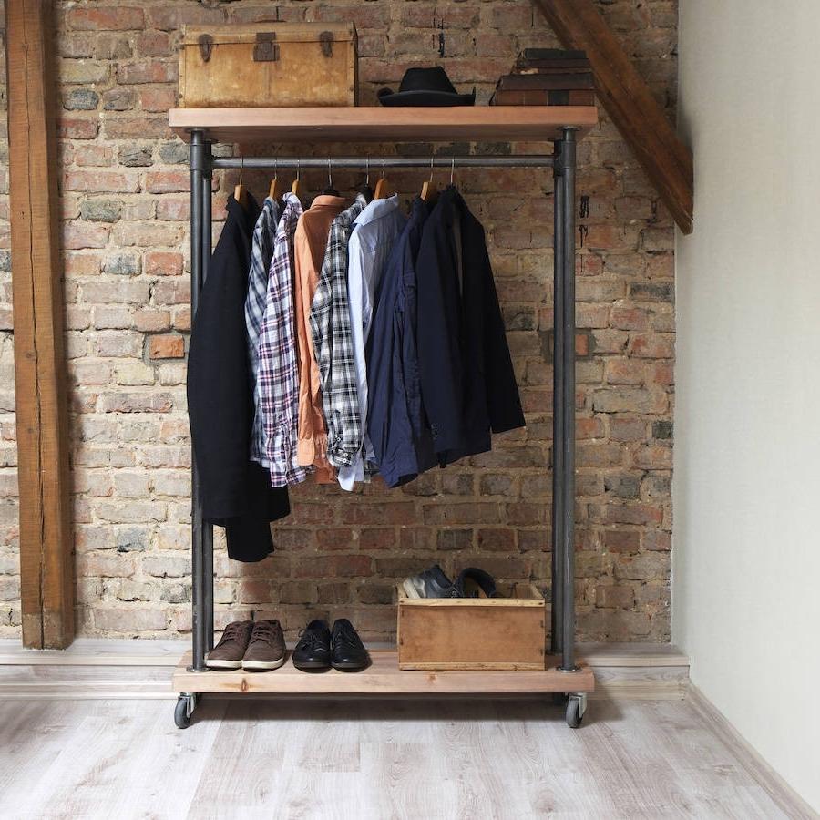 Industrial Style Reclaimed Wood Clothes Railcosywood Throughout Most Current Industrial Style Wardrobes (Gallery 4 of 15)