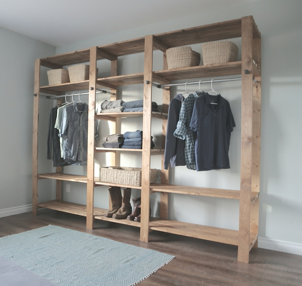 Industrial Style Wood Slat Closet System With Within Industrial Style Wardrobes (View 12 of 15)