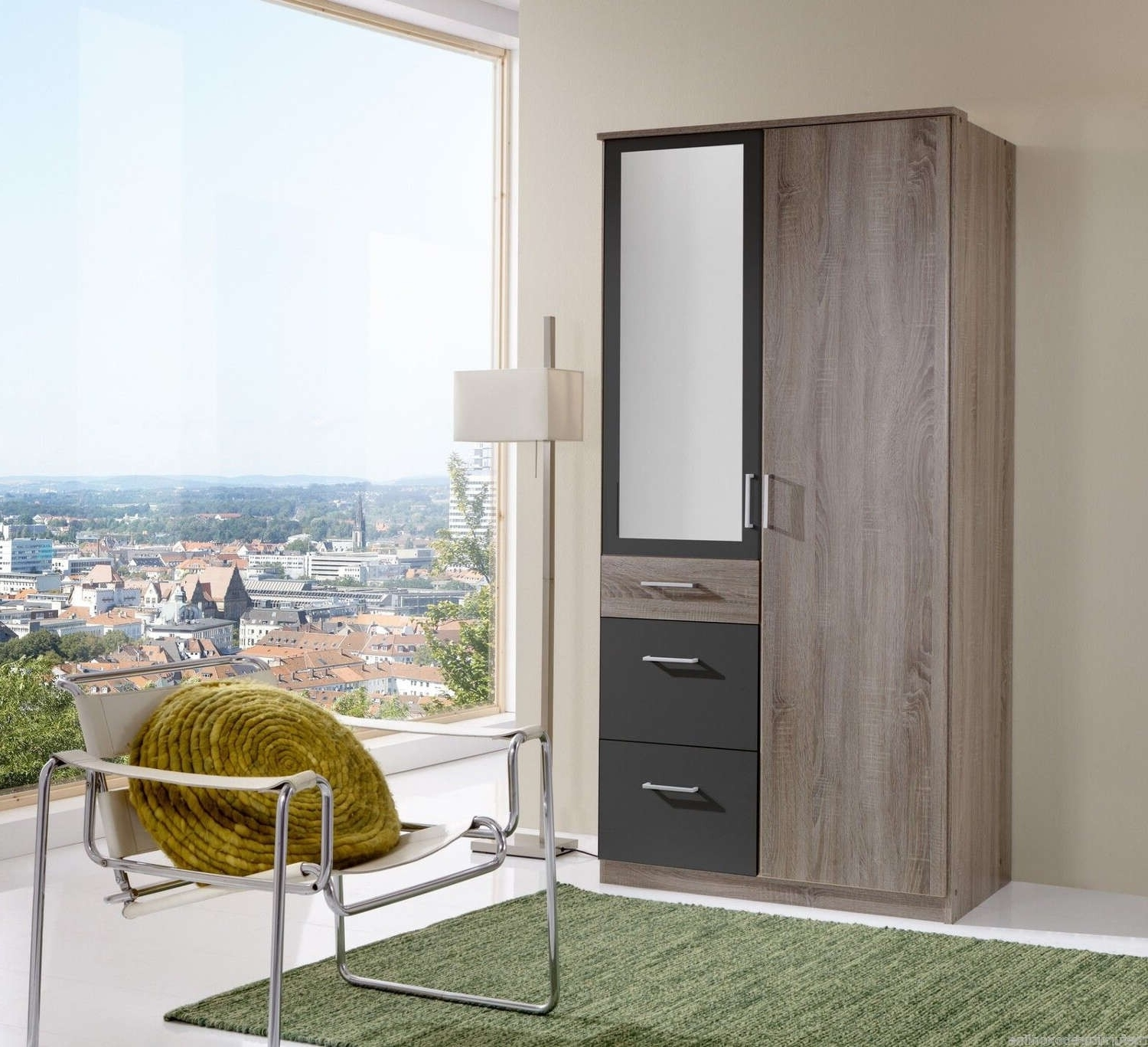 Italian Double 2 Door 3 Drawer Mirror Wardrobe (Gallery 3 of 15)