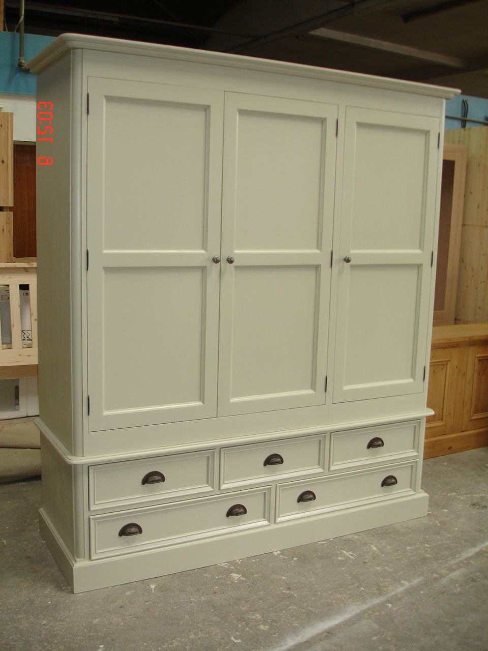 Ivory Painted Large 3 Door Solid Pine Victorian Style Shabby Chic Intended For Most Current Shabby Chic Pine Wardrobes (View 7 of 15)