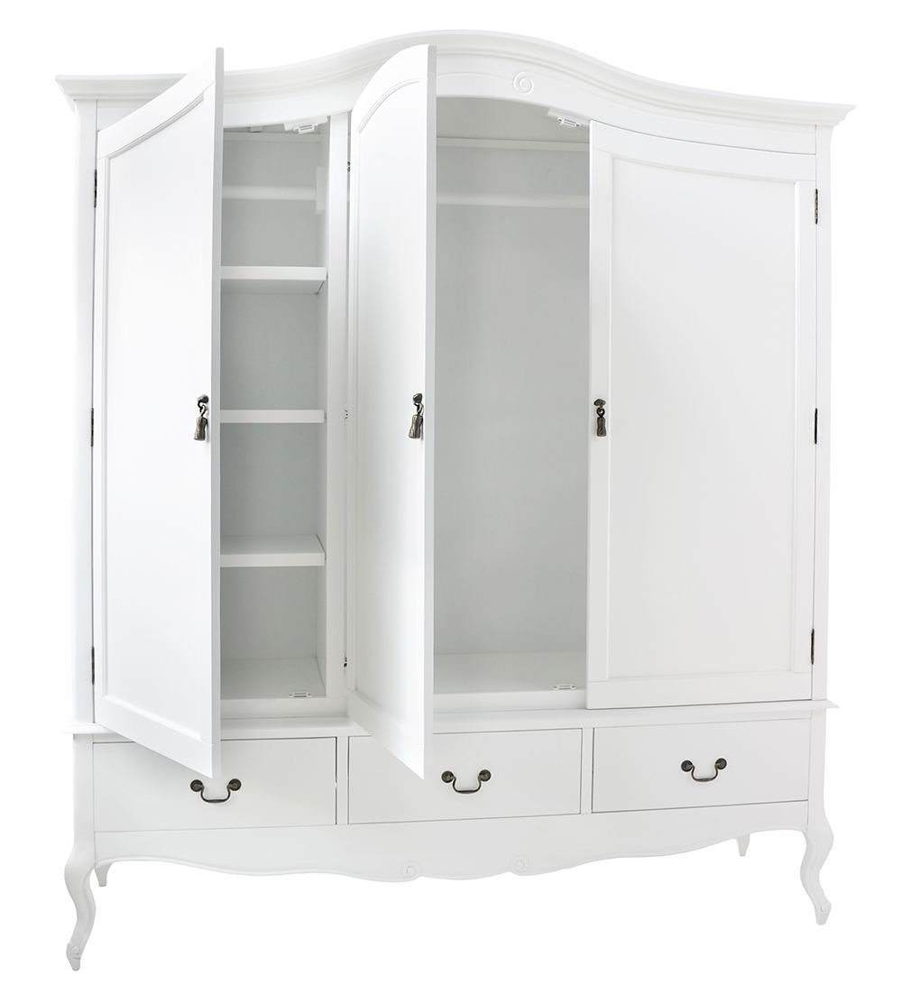 Juliette Shabby Chic White Triple Wardrobe With Hanging Rails Intended For Favorite Shabby Chic White Wardrobes (View 3 of 15)