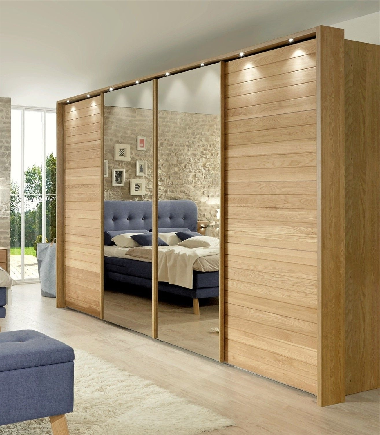 Jupiter By Stylform Semi Solid Oak And Glass Or Mirror Sliding Within Well Known Cheap Wardrobes With Mirror (View 12 of 15)