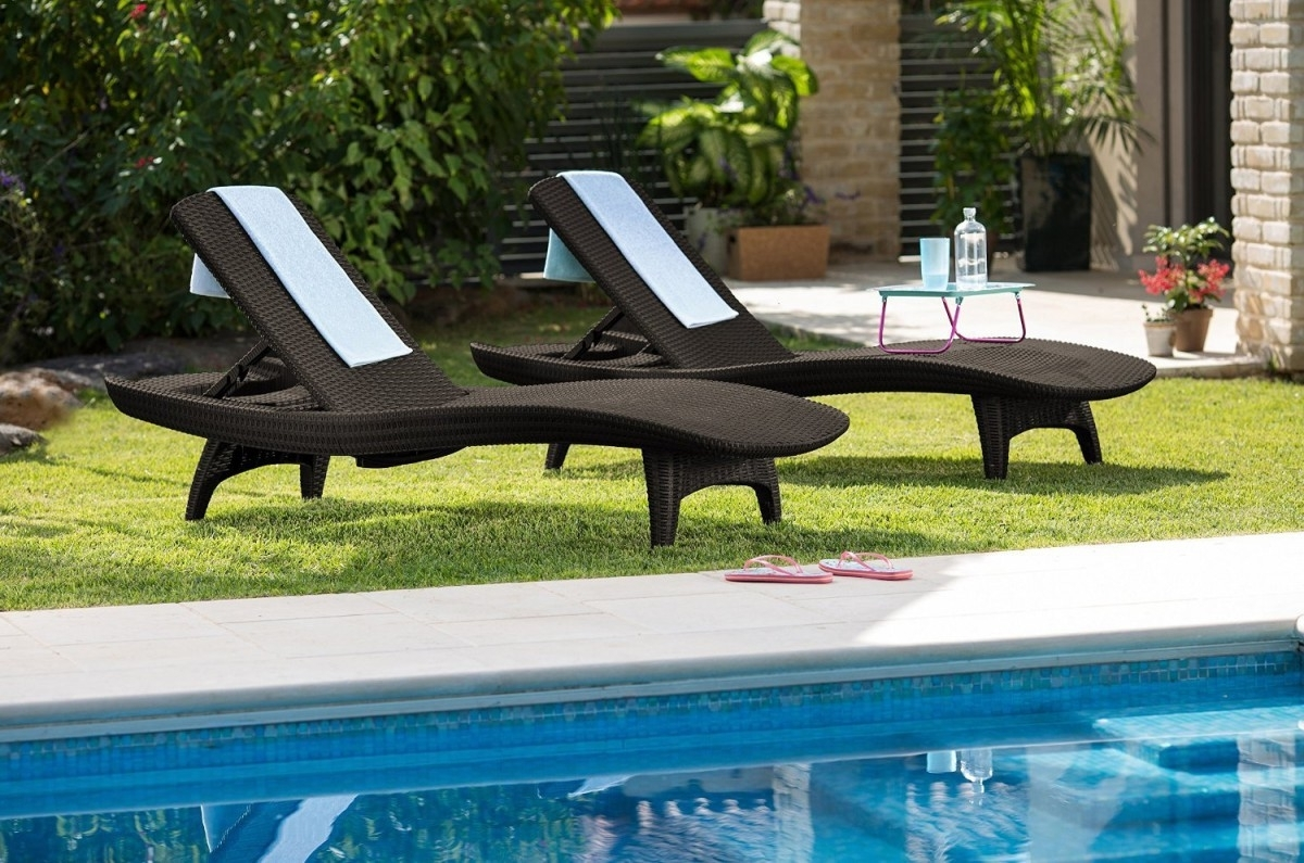 Keter 2Pc Rattan Outdoor Chaise Lounge Chairs – Patio Table Regarding Recent Keter Chaise Lounge Chairs (View 6 of 15)