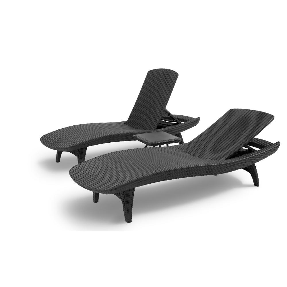 Keter Pacific Grey All Weather Adjustable Resin Patio Chaise Intended For Most Up To Date Keter Chaise Lounge Chairs (View 9 of 15)
