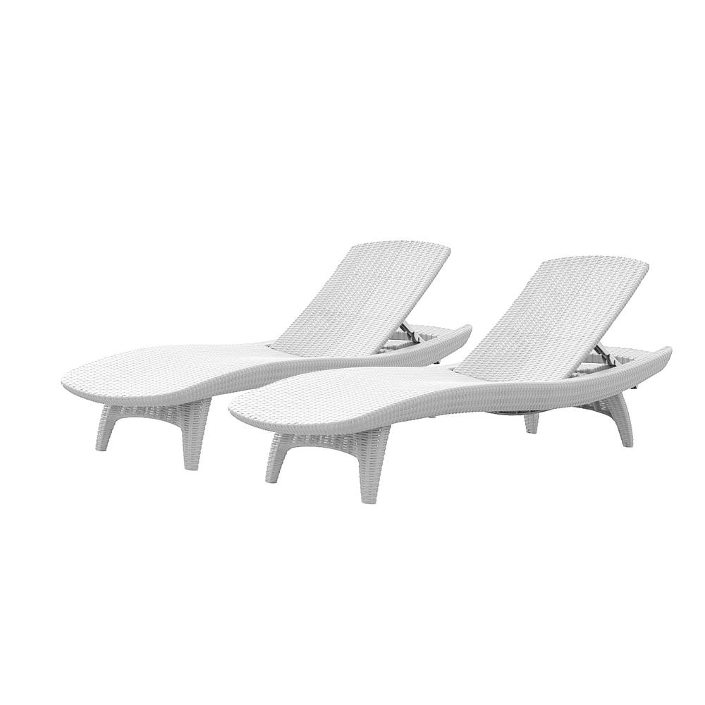 Keter Pacific Oasis White All Weather Adjustable Resin Outdoor With Trendy Resin Chaise Lounges (View 6 of 15)