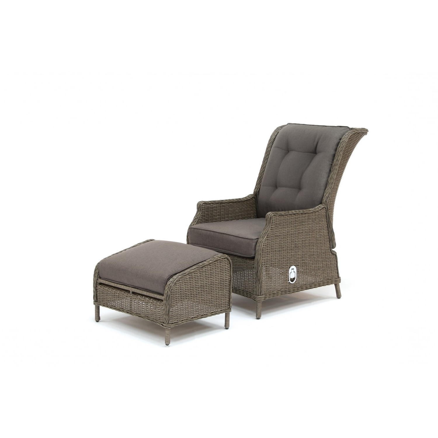 Kettler Chaise Lounge Chairs Throughout Popular Kettler Jarvis Recliner With Footstool – Rattan Inc Taupe Cushions (View 6 of 15)