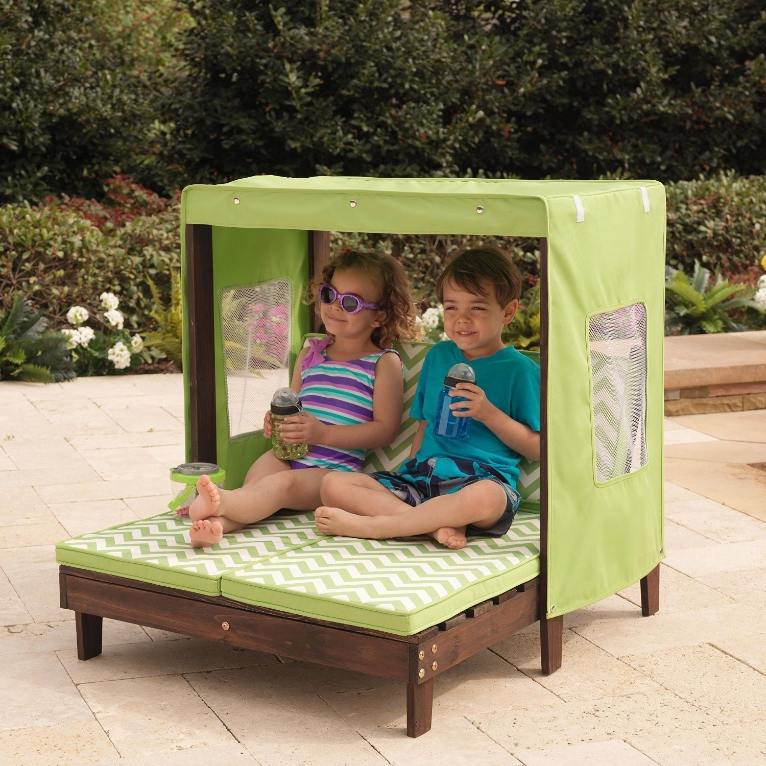 Kidkraft Double Chaise Lounges Within Newest Amazon: Kidkraft Outdoor Double Chaise Lounge Chair With (Gallery 3 of 15)