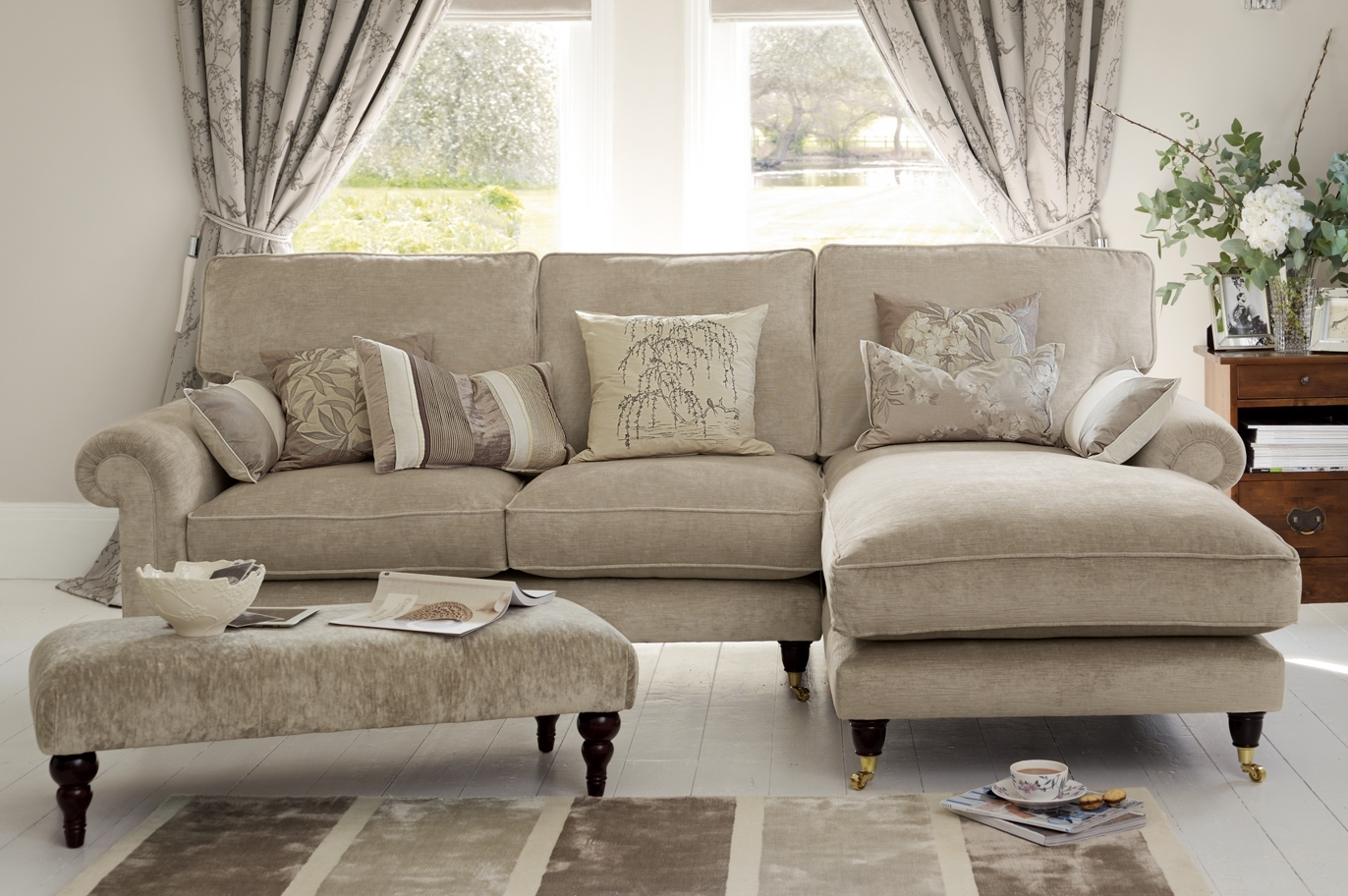 "Kingston"" Sectional Sofa With Chaise In Sable Beige From Laura Pertaining To 2018 Beige Sectionals With Chaise (Gallery 6 of 15)"