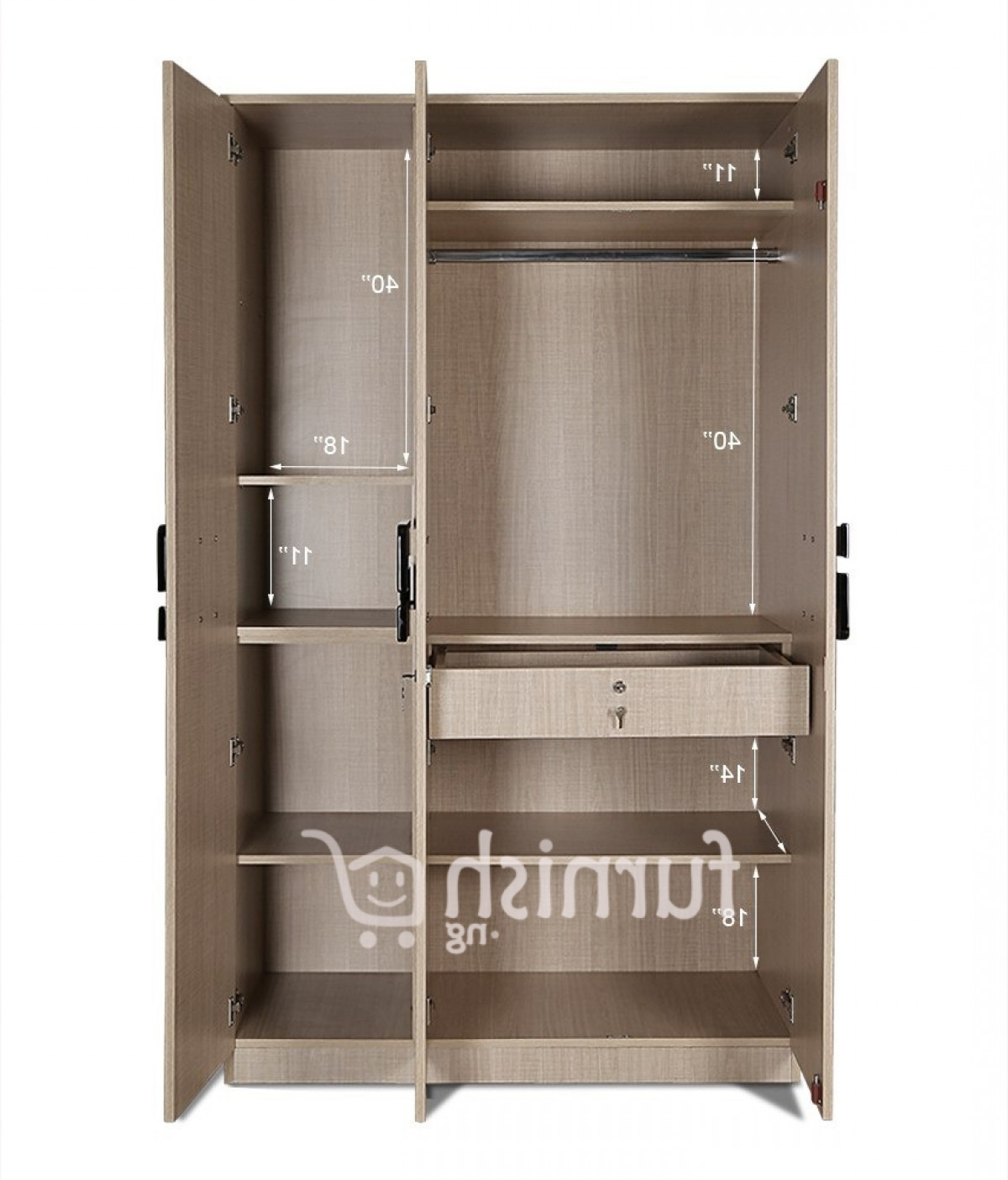 Koko Mdf / Hdf Bedroom Set (king Size Bed + Bedside Table + Triple In Newest Triple Door Wardrobes (View 10 of 15)
