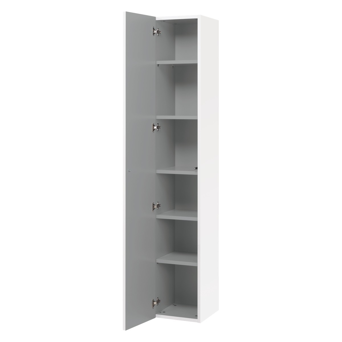 Kubrik White High Gloss 1 Door Tall Cupboard (Gallery 15 of 15)