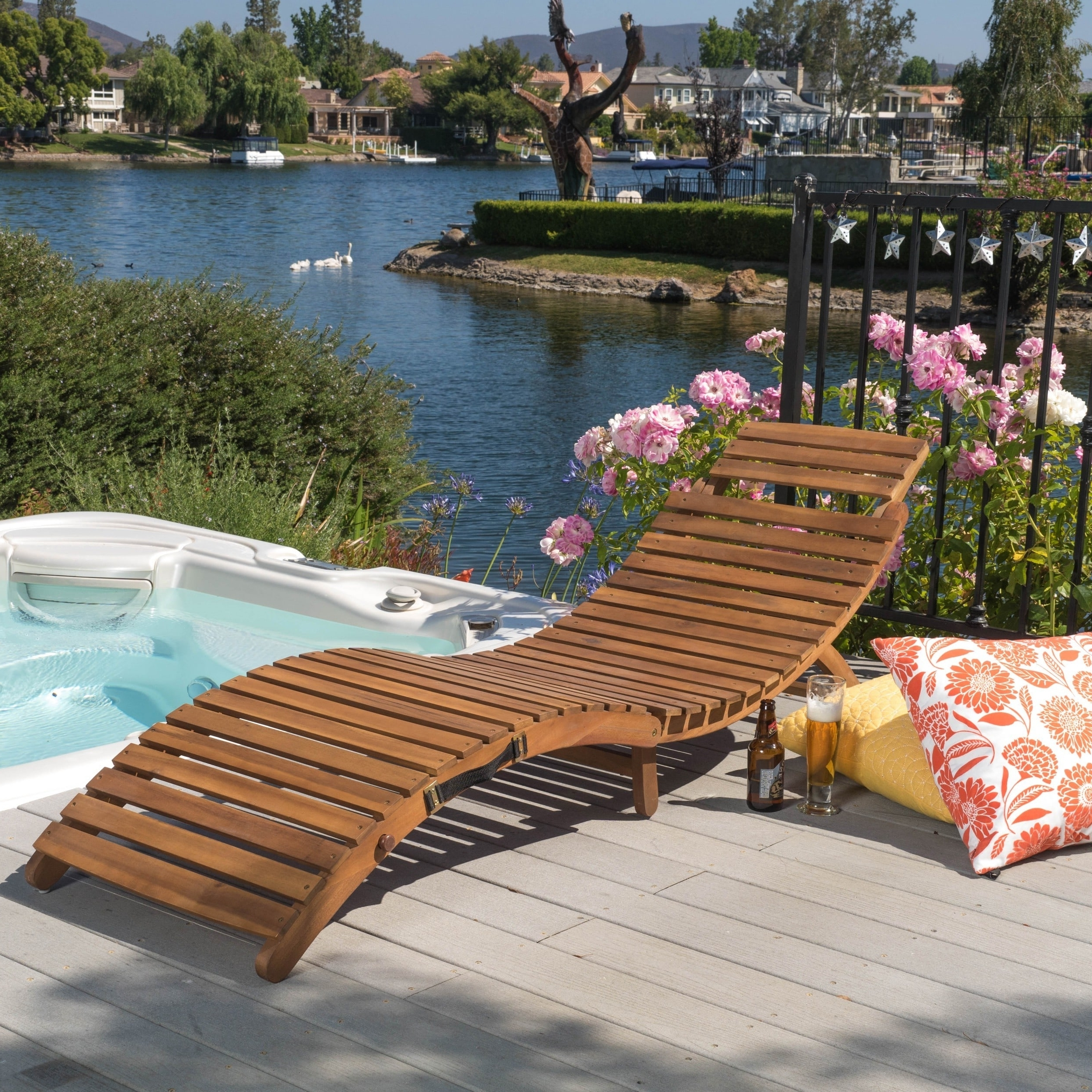 Lahaina Outdoor Acacia Wood Chaise Loungechristopher Knight Regarding 2018 Overstock Outdoor Chaise Lounge Chairs (View 5 of 15)