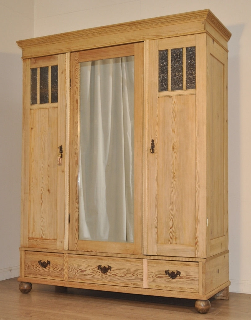 Large Antique Wardrobes Inside Most Recent Large Antique Edwardian Pine Mirror Door Flatpack Triple Wardrobe (View 7 of 15)