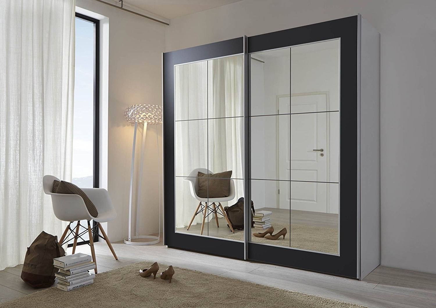 Large Black Wardrobes With Regard To Best And Newest Schlafzimmer Lattice: Black Sliding Door Wardrobe With Mirror (View 6 of 15)