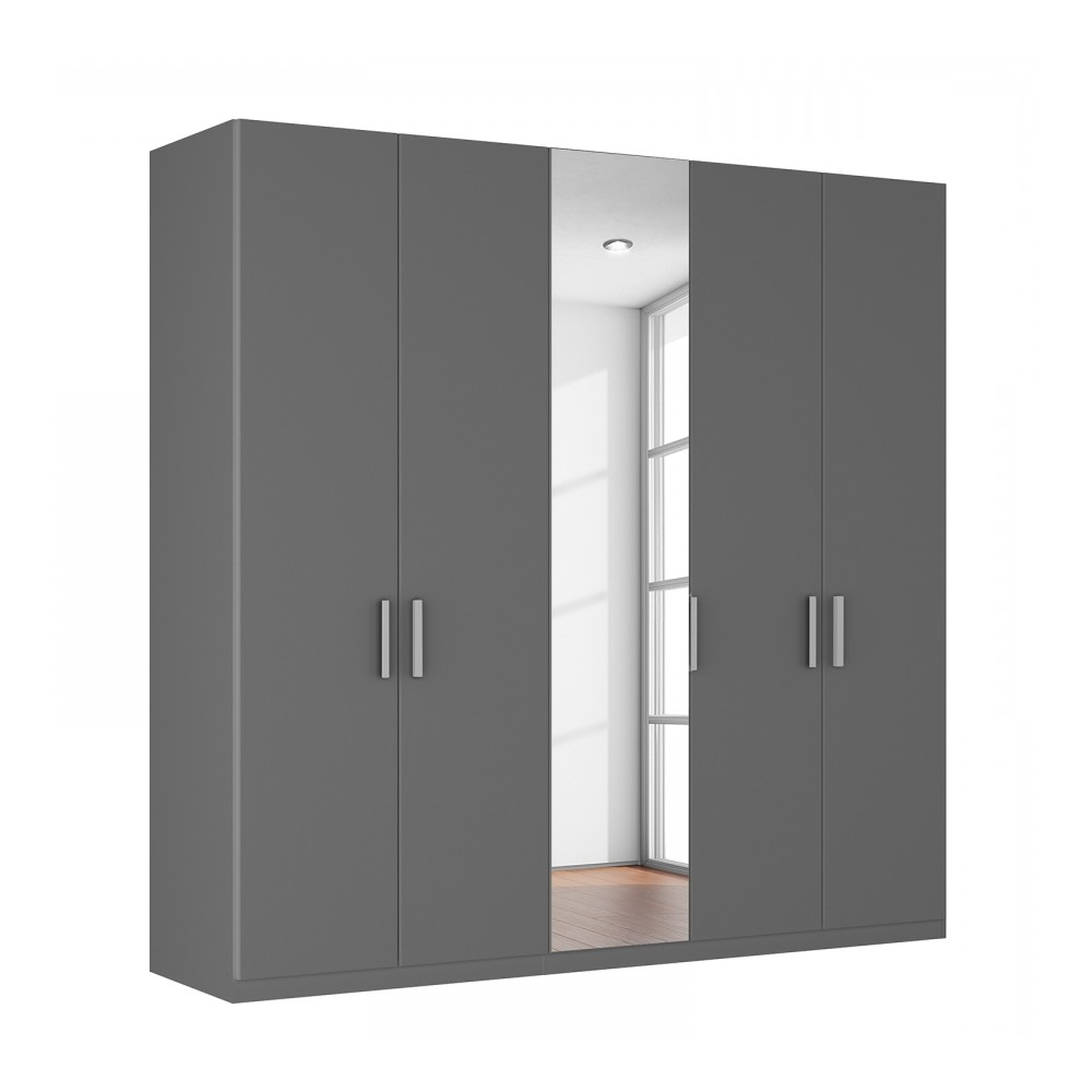 Large Grey Wardrobes On Sale, Agon 5 Door Wardrobe With Regard To Fashionable 5 Door Mirrored Wardrobes (View 11 of 15)