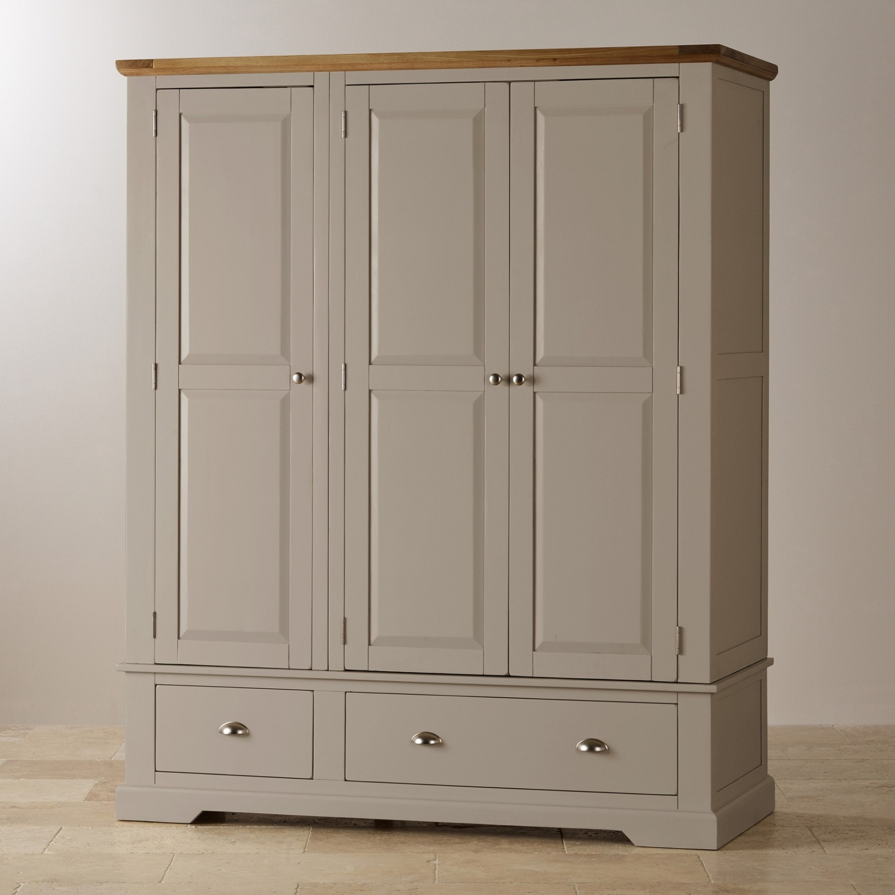 Large Oak Wardrobes Regarding Fashionable St Ives Natural Oak And Light Gray Painted Large Armoire Oak (View 8 of 15)