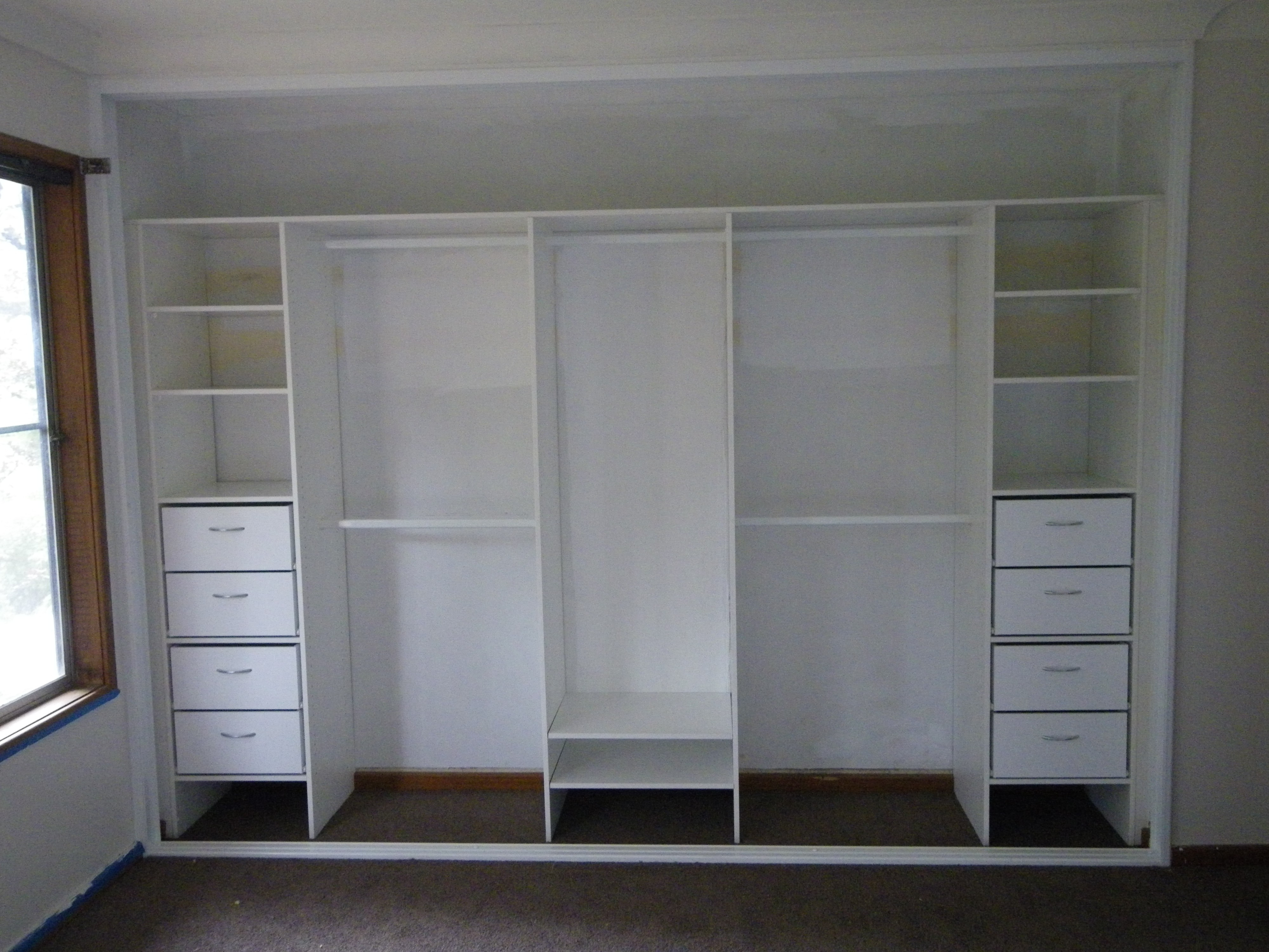 Large White Wardrobes With Drawers Within Well Known Vintage White Wooden Wardrobe With Inside Shelves And Numerous (View 7 of 15)