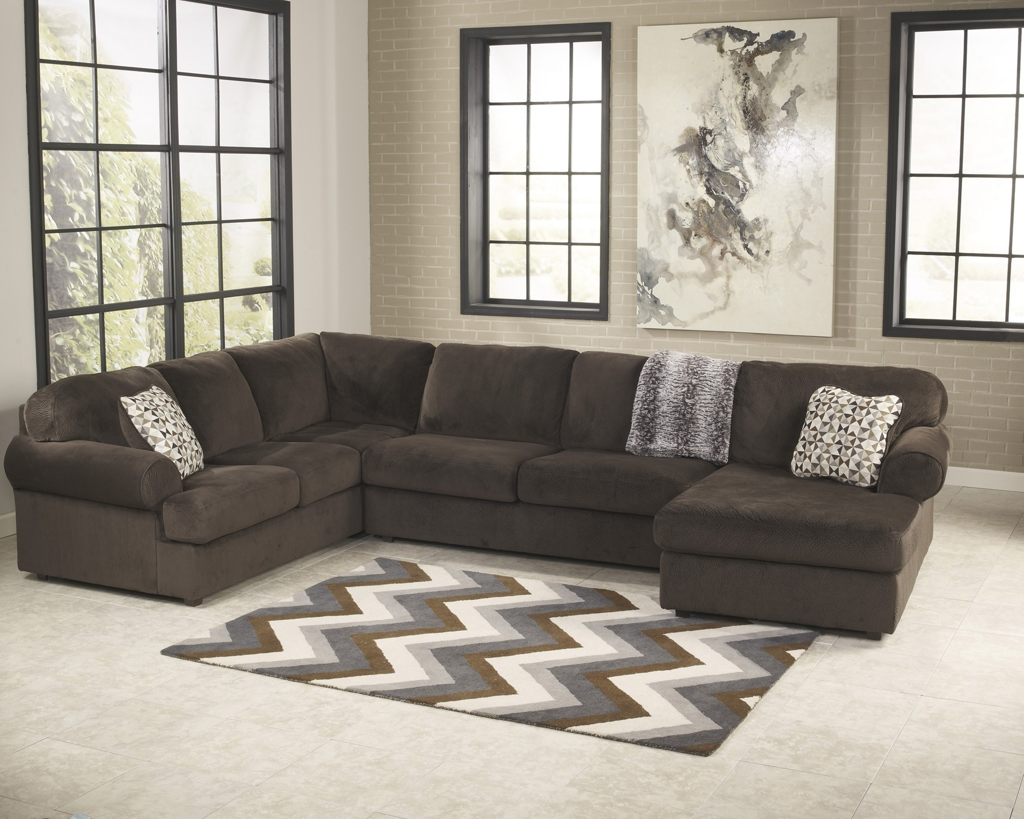 Latest 3 Piece Sectional Sofas With Chaise Within Jessa Place Chocolate 3 Piece Sectional Sofa For $ (View 7 of 15)