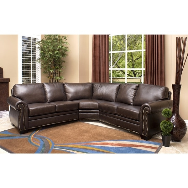 Latest Abbyson Oxford Brown Top Grain Leather Sectional Sofa – Free Inside Abbyson Sectional Sofas (View 10 of 15)
