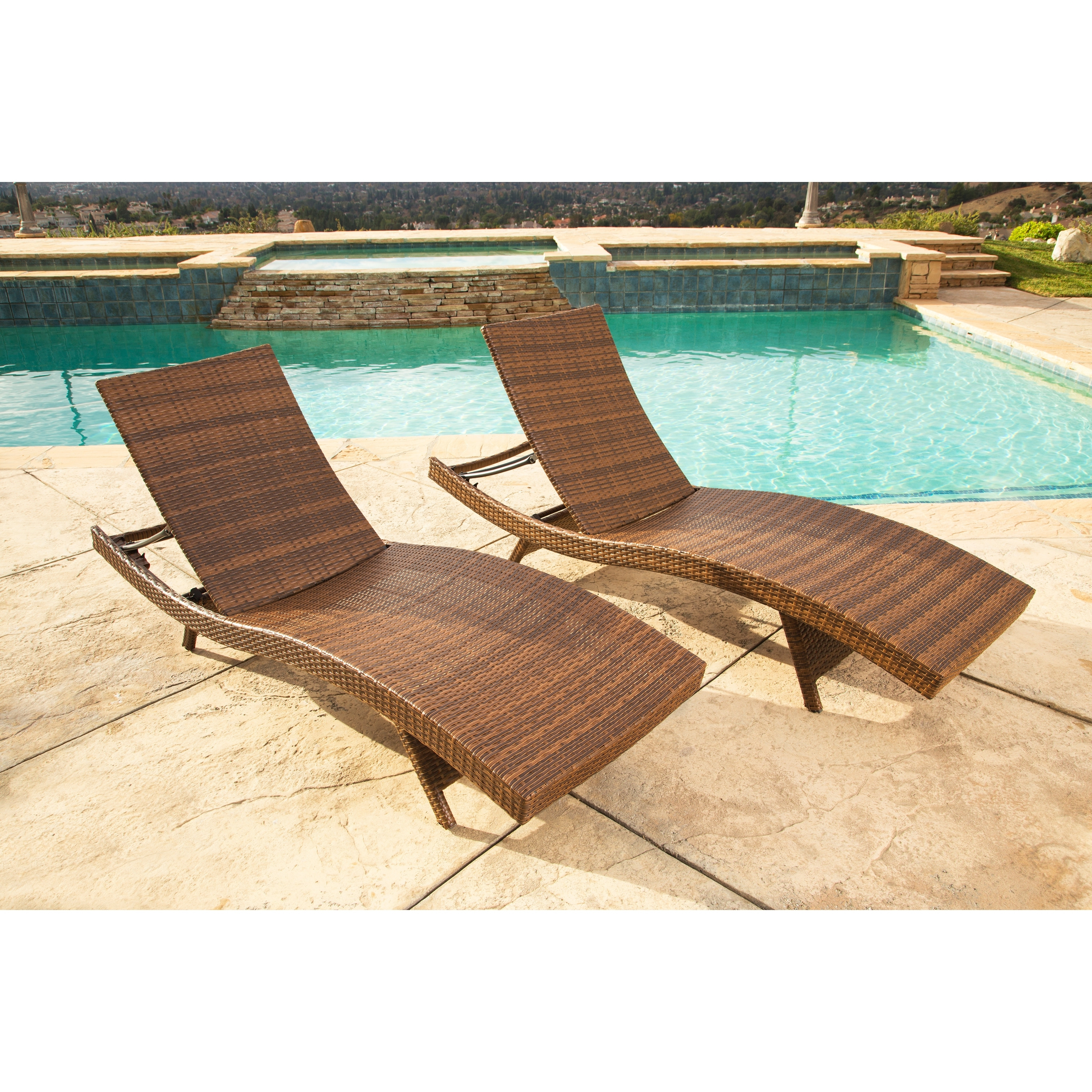 Latest Abbyson Palermo Outdoor Brown Wicker Chaise Lounge Set – Free With Overstock Outdoor Chaise Lounge Chairs (View 14 of 15)