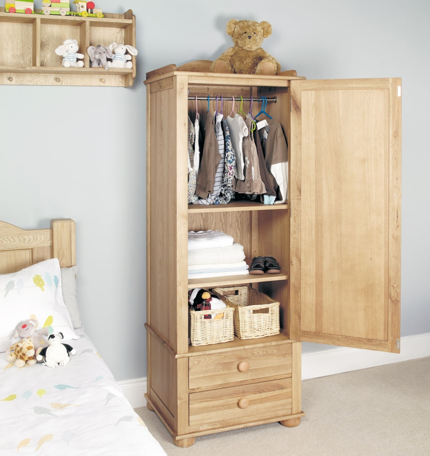 Latest Amelie Oak Childrens Single Wardrobe – Amelie Oak Children's Throughout Small Single Wardrobes (View 4 of 15)