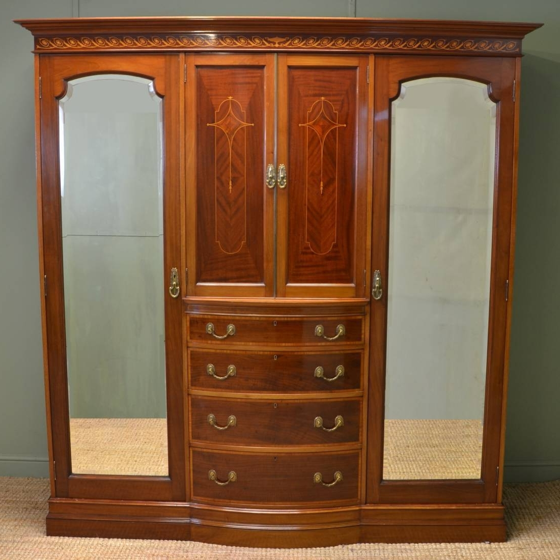 Latest Antique Triple Wardrobes Within Spectacular Inlaid Mahogany Antique Victorian Triple Wardrobe (View 7 of 15)
