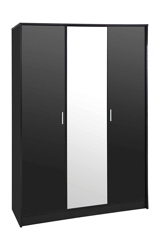 "Latest Black Gloss 3 Door Wardrobes Pertaining To Direct Furniture ""khabat"" 3 Door Mirrored Wardrobe, Mdf/chipboard (View 4 of 15)"