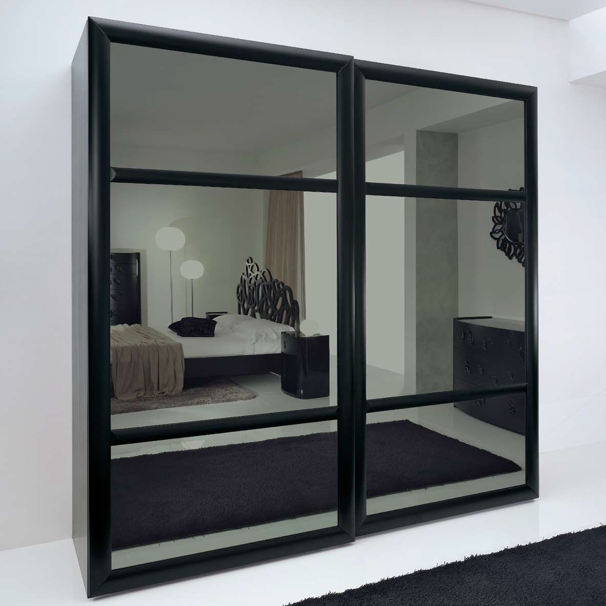 Latest Black Wardrobes With Mirror Throughout Mirrored Wardrobe Doors Sliding Door Wardrobes Ikea 1 White Pax (View 10 of 15)