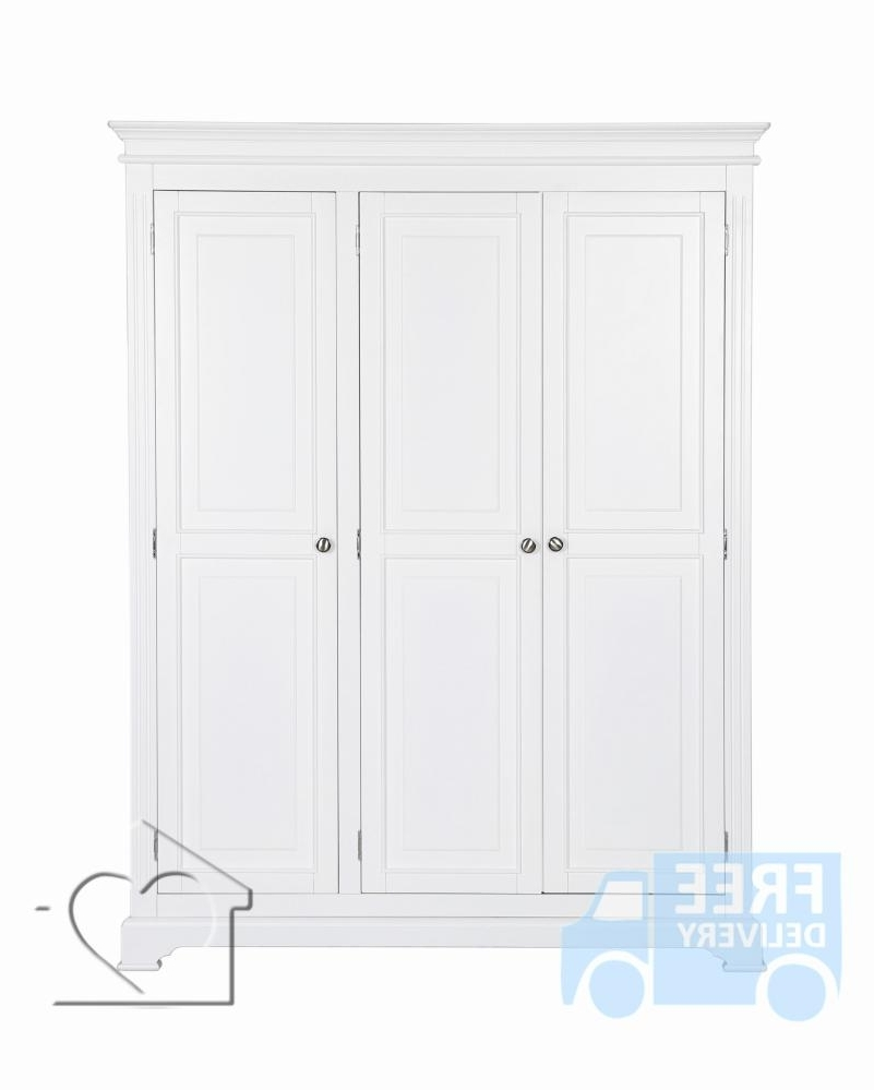 Latest Bramble White 3 Door Wardrobe – £ (View 7 of 15)