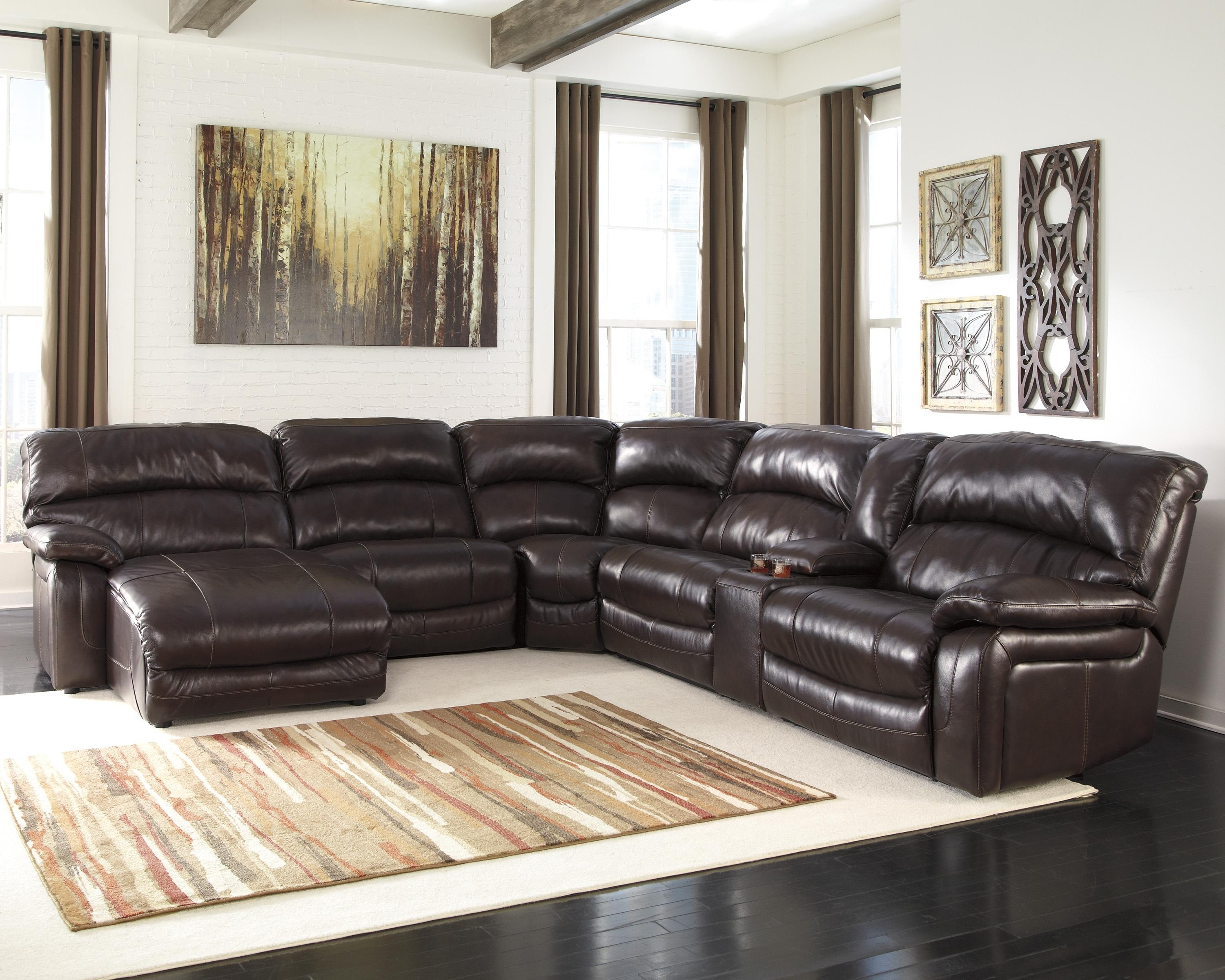 Latest Brown Sectionals With Chaise Regarding Reclining Sectional W/ Console & Right Press Back Chaise (View 9 of 15)