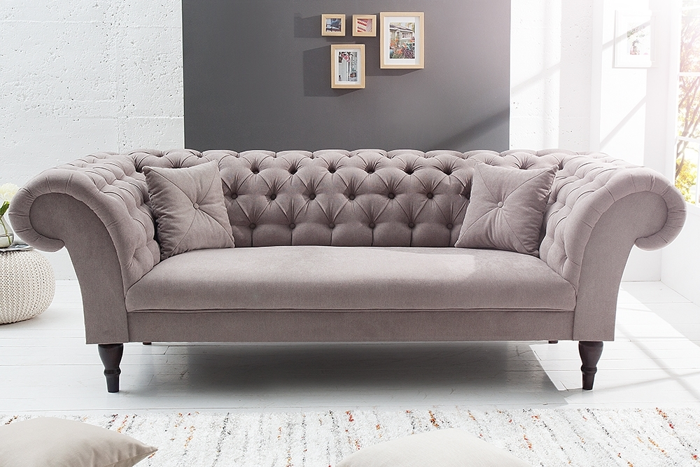 Latest Chesterfield Sofas Within Chesterfield Sofa Contessa Soft Baumwolle Greige Mit 2 Kissen (View 4 of 10)
