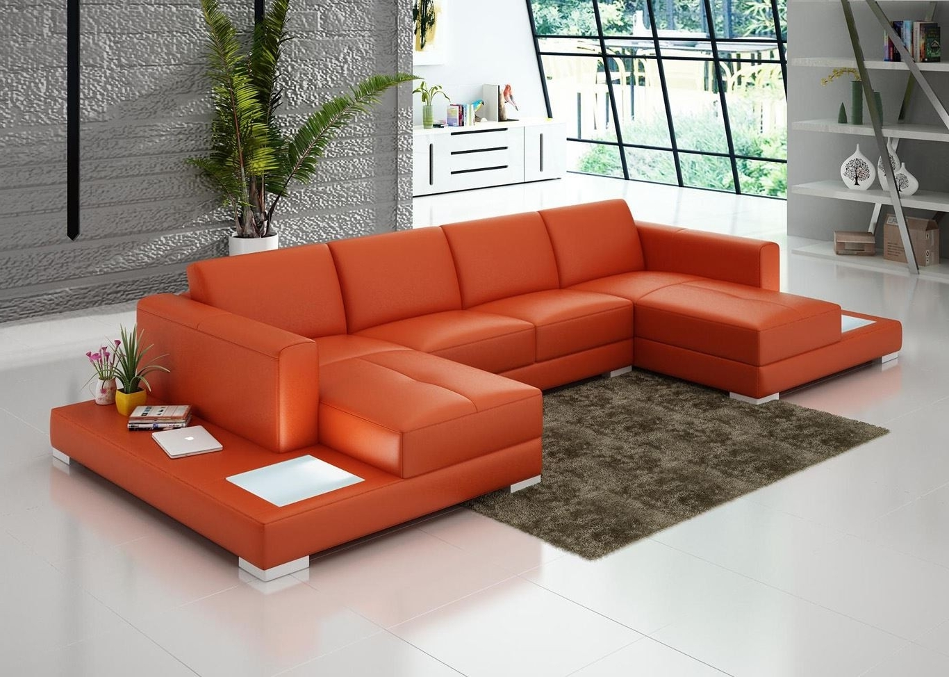 Latest Double Chaise Lounge Sofas Inside U Shaped Orange Leather Sofa With Double  Chaise Lounge And