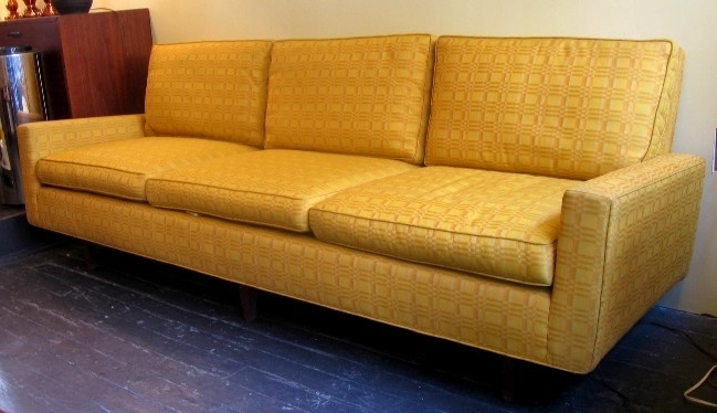 Latest Florence Knoll 3 Seat Sofa In Original Knoll Fabric *sold* – White In Florence Knoll Wood Legs Sofas (Gallery 8 of 10)
