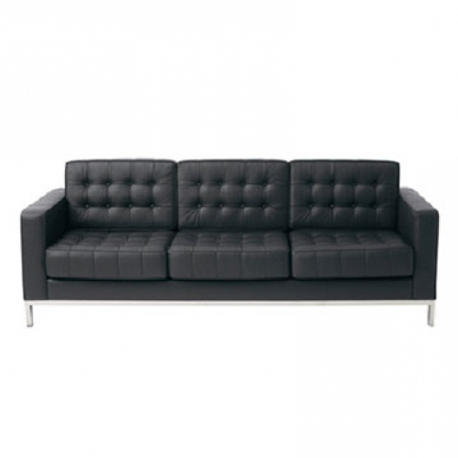 Latest Florence Leather Sofas Regarding Contemporary Florence Knoll Style Black Leather Sofa – $1, (View 9 of 10)