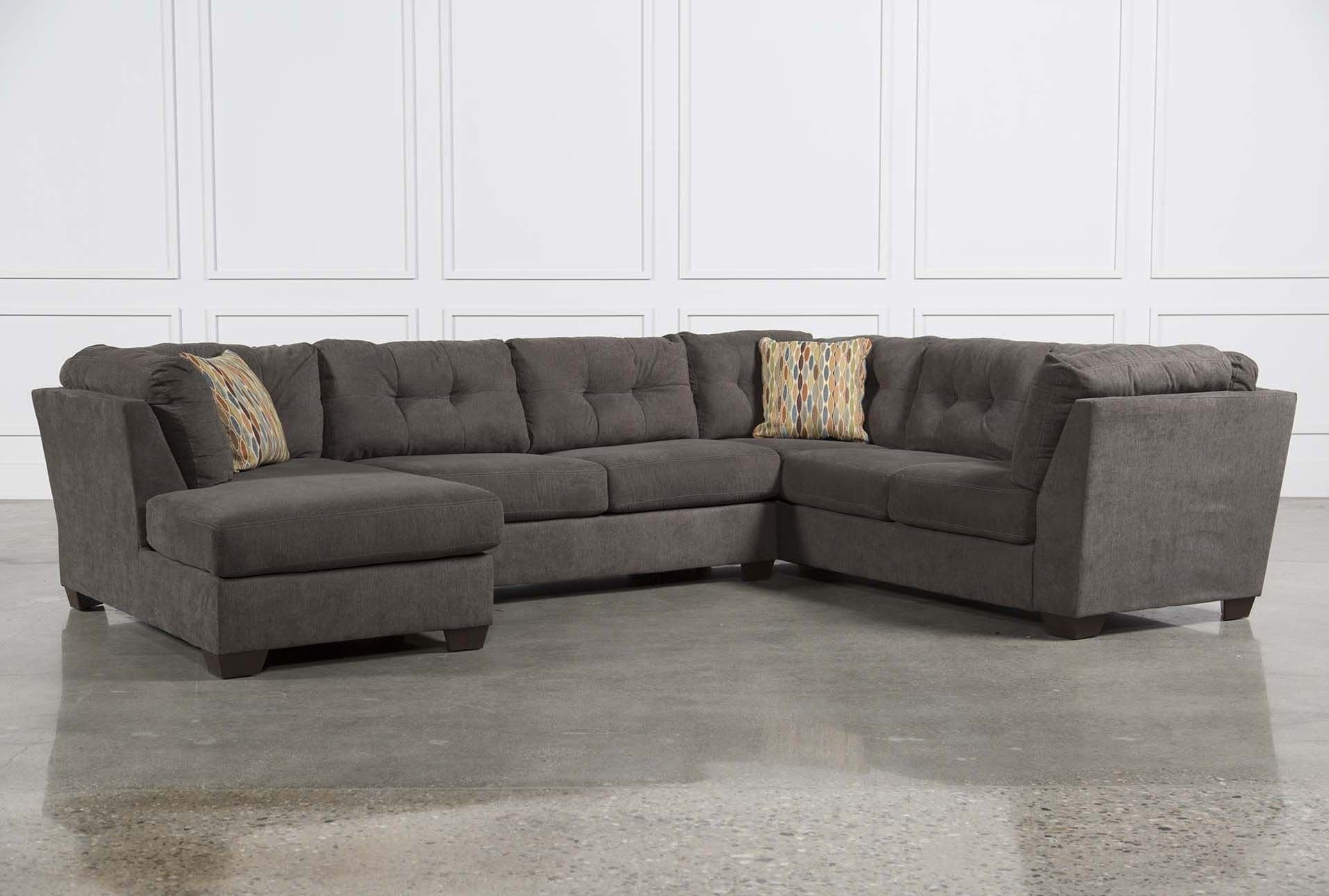 Latest Grey Sectionals With Chaise With Regard To Furniture: Comfortable Deep Seat Sectional For Your Living Room (View 11 of 15)