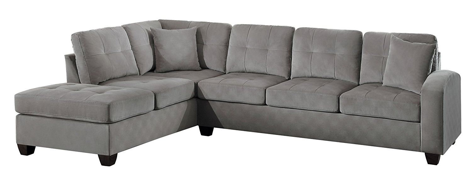 Latest Grey Sofas With Chaise Regarding Amazon: Homelegance Sectional Sofa Polyester With Reversible (View 9 of 15)