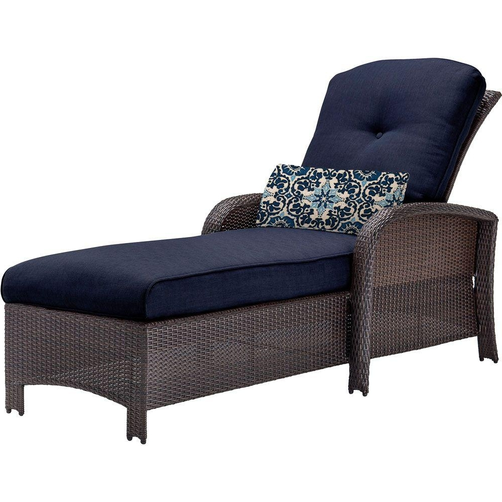 Latest Hanover Strathmere All Weather Wicker Outdoor Patio Chaise Lounge  Within Outdoor Cushions For Chaise Lounge