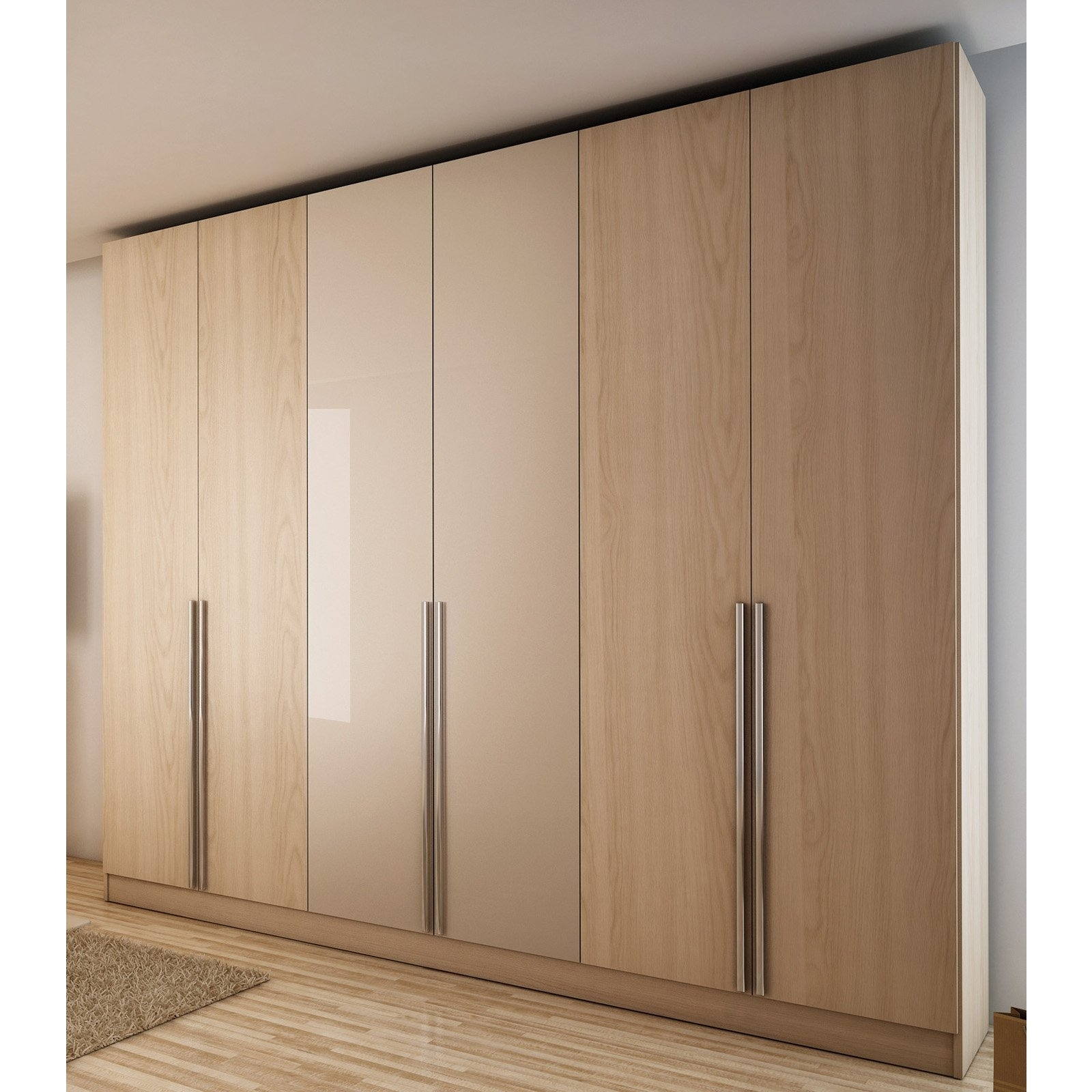 Latest Home Source 3 Door Wardrobe With 2 Shelves (View 13 of 15)