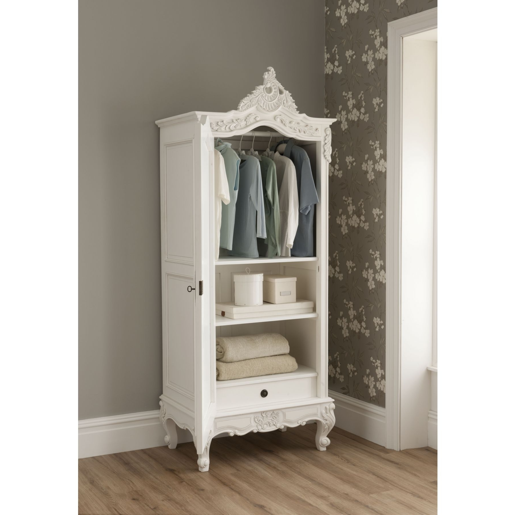 Latest La Rochelle Mirrored Antique French 1 Door Wardrobe Throughout French Shabby Chic Wardrobes (View 10 of 15)