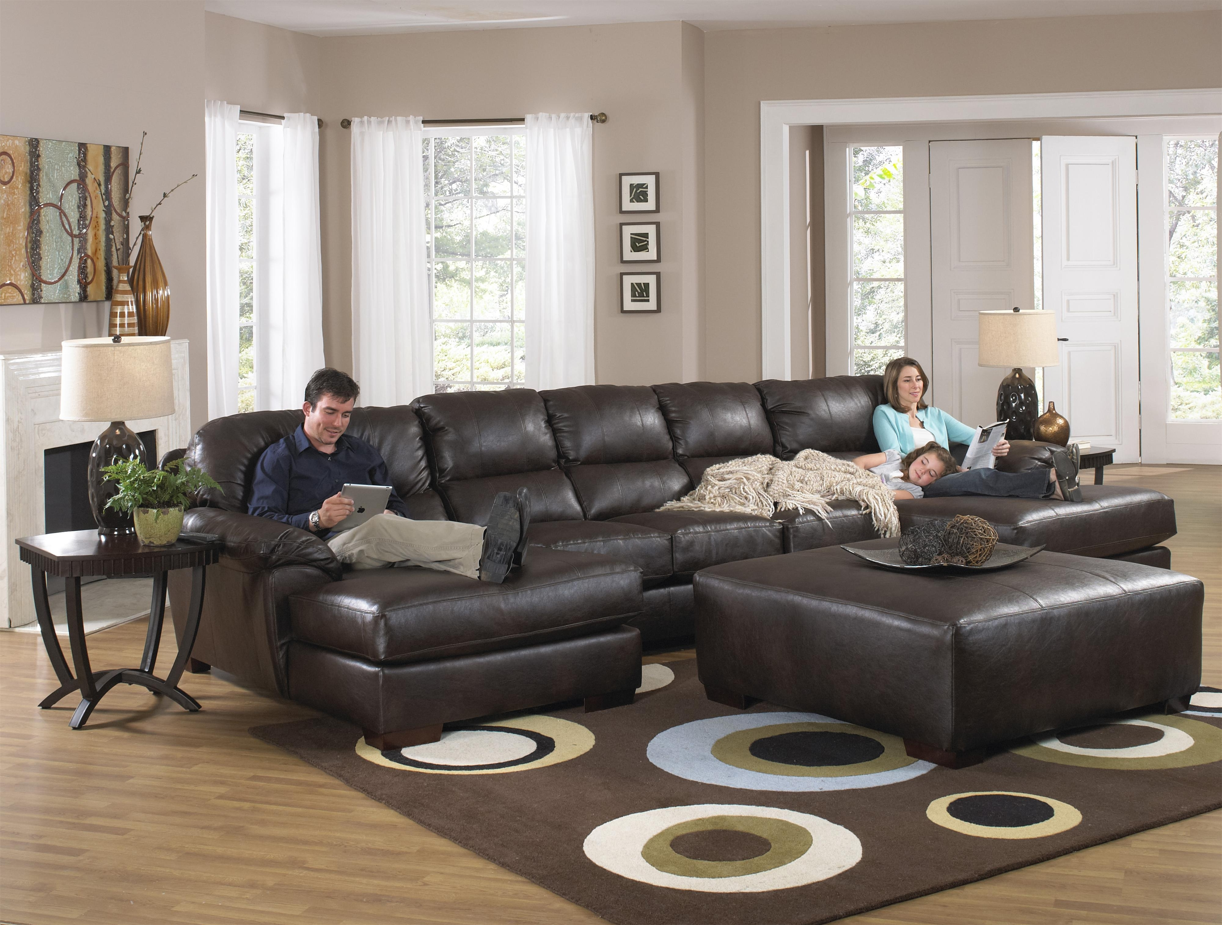 Latest Leather Couches With Chaise Throughout Two Chaise Sectional Sofa With Five Total Seatsjackson (View 11 of 15)