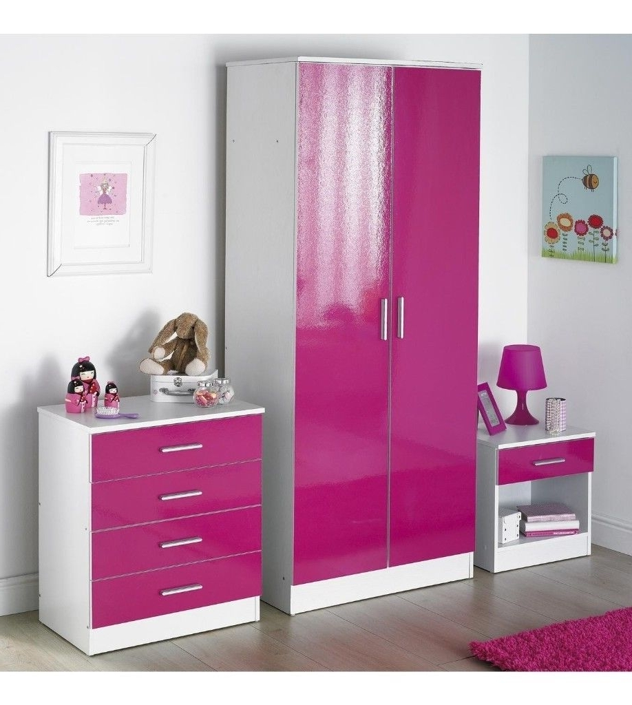 Latest Pink High Gloss Wardrobes Pertaining To Carleton 3 Piece 2 Door Wardrobe Bedroom Set High Gloss Drawer (View 9 of 15)