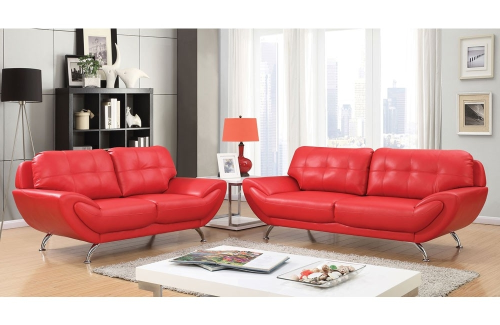 Latest Red Leather Couches And Loveseats Pertaining To Modern Red Leather Sofa (View 3 of 10)