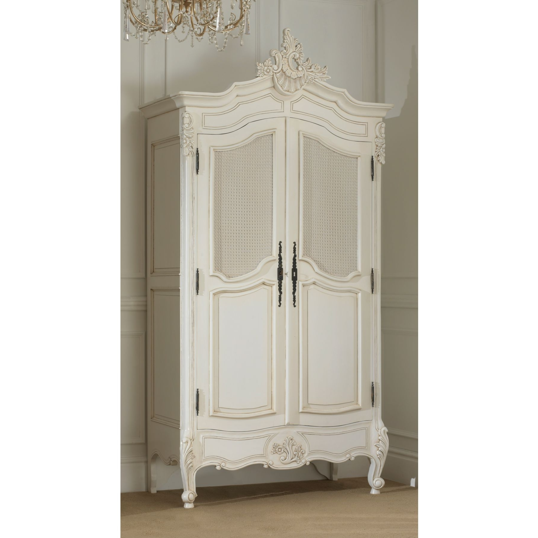 Latest Rochelle Antique French Bed (size: Double) + La Rochelle Antique For White Antique Wardrobes (View 4 of 15)